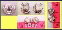 Diamond Earrings 2ct Asscher Cut w Certificate H Color VS2 Gold (4946)