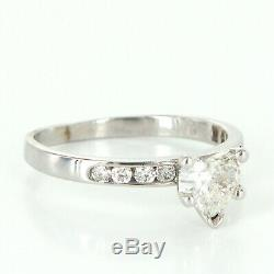 Diamond Heart Solitaire Engagement Ring Vintage 14k White Gold 5.75 Certificate