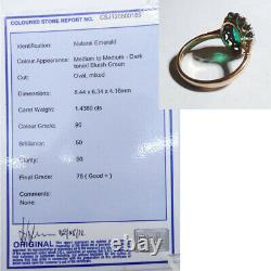 Emerald and Diamond Ring Set in 18k Gold Ring w E. G. L. Certificate (6041)