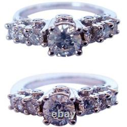 Engagement Wedding Ring Diamonds 14k White Gold w Appraisal Certificate (4430)