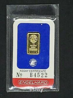 Engelhard 1 Gram Fine Gold. 9999 Bar with Assay Certificate No. B4522 (Sealed)