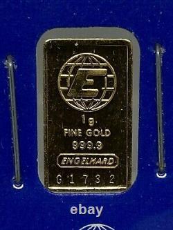 Engelhard 1 Gram Fine Gold. 9999 Bar with Assay Certificate No. G1732 (Sealed)