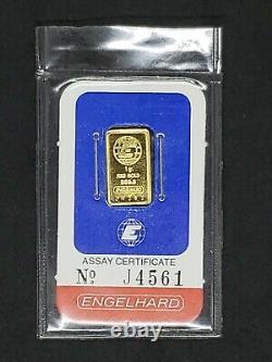 Engelhard 1 Gram Fine Gold. 9999 Bar with Assay Certificate No. J4561 (Sealed)