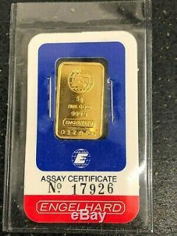 Engelhard 5 Gram Fine Gold Bar. 9999 with Assay Certificate & Envelope No. 17926