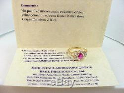 FINE COLOR NATURAL RUBY CERTIFICATE NO HEAT. 55 CT with. 48 TCW DIA'S 14K GOLD