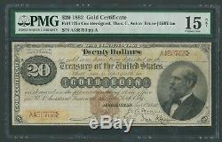 FR1175a $20 1882 GOLD TRIPLE SIGNATURE SMALL BROWN SEAL PMG 15 FINE WLM9852 TL