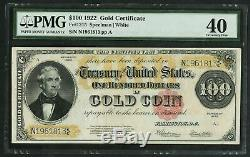 FR1215 $100 1922 Gold Note PMG 40 Choice Extremely Fine (#516 DFP 4/2/20)