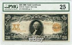 FR. 1183 1906 $20 Gold Certificate PMG Very Fine 25 (Re-touched, Split)