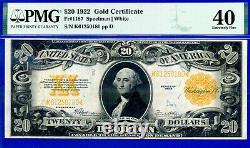 FR-1187 1922 $20 (Gold Cerificate) PMG Extremely Fine 40 # K61250180