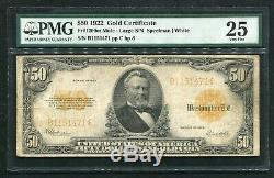 FR. 1200m 1922 $50 FIFTY DOLLARS GOLD CERTIFICATE CURRENCY NOTE PMG VERY FINE-25