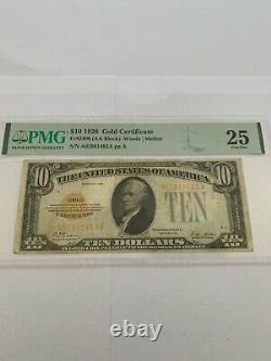 FR 2400 1928 $10 Gold Certificate AA Block Woods & Mellon PMG Grade Very Fine 25