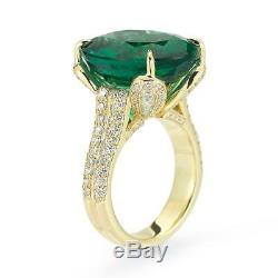 Fine 16.47 ct Oval Cut Emerald & Diamond 18K yellow Gold Ring WithGIA CERTIFICATE
