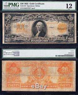 Fine Graded 1922 $20 GOLD CERTIFICATE! PMG 12! FREE SHIPPING! K36377277