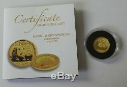 Fine gold 1/10th oz Chinese Panda coin 2011 with certificate Weight 3.1g 1215