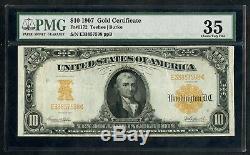 Fr1172 $10 1907 Gold Note Pmg 35 Very Fine Teehee / Burke Hw3913