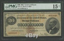 Fr1174 $20 1882 Gold Note Pmg 15 Choice Fine App Only 22 Known Ext Rare Wlm6770