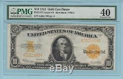 Fr. 1173. 1922 $10 Gold Certificate. PMG Extremely Fine 40