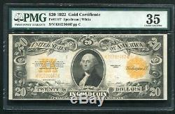 Fr. 1187 1922 $20 Gold Certificate Currency Note Pmg Chioce Very Fine-35