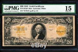 Fr. 1187m 1922 $20 GOLD CERTIFICATE MULE STAR SUPER RARE + PMG CHOICE FINE 15
