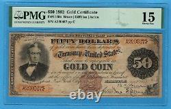 Fr. 1189a 1882 $50 Gold Certificate PMG Choice Fine 15