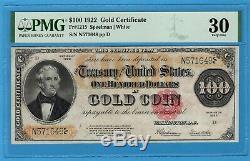 Fr. 1215 1922 $100 Gold Certificate PMG Very Fine 30