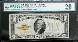 Fr 2400 1928 $10 GOLD CERTIFICATE PMG 20 FREE SHIPPING VERY FINE