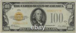 Fr. 2405 $100 1928 Gold Certificate S/N A00823277A Raw / Circulated (Very Fine)