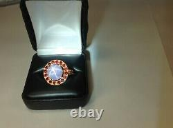 Gem certificate Natural star sapphire and rubies mount 18k gold ring