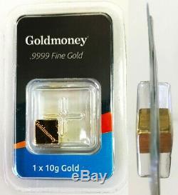 Gold 10 Grams Goldmoney 9999 Fine Bullion Cube Sealed In Assay Certificate
