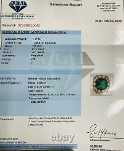 Important Estate 18k Diamond & Green Tourmaline Halo Ring with AGI Certificate