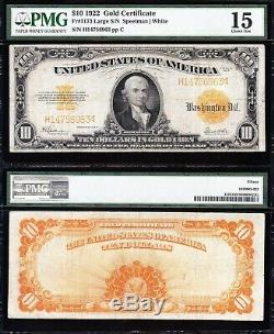 NICE Choice Fine+ 1922 $10 GOLD CERTIFICATE! PMG 15! FREE SHIPPING! H14756963
