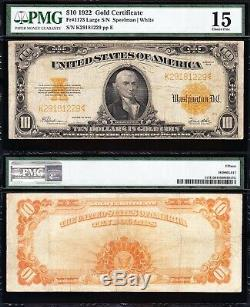 NICE Choice Fine+ 1922 $10 GOLD CERTIFICATE! PMG 15! FREE SHIPPING! K29181229