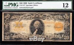 NICE Fine 1922 $20 GOLD CERTIFICATE! PMG 12! FREE SHIPPING! K16191374
