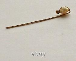 Natural Saltwater Pearl Stickpin, Gold, Pearl and Sapphire with Certificate