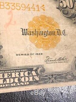 Nice 1922 U. S. $50 GOLD CERTIFICATE SPEELMAN & WHITE FINE+ FR-1200
