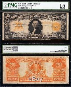 Nice Choice Fine+ 1922 $20 GOLD CERTIFICATE! PMG 15! FREE SHIPPING! K25320369
