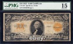Nice Choice Fine 1922 $20 GOLD CERTIFICATE! PMG 15! FREE SHIPPING! K73543701