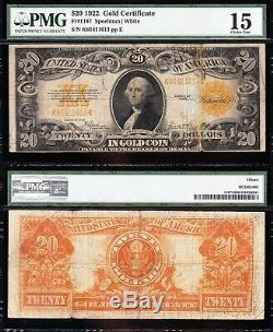 Nice Choice Fine+ 1922 $20 GOLD CERTIFICATE! PMG 15! FREE SHIPPING! K81411613