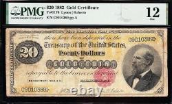 Nice Fine RARE 1882 $20 James Garfield GOLD CERTIFICATE! PMG 12! FREE SHIP