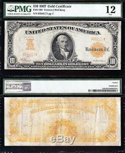 Nice Fine SCARCE Fr. 1168 VERNON-MCCLUNG 1907 $10 GOLD CERTIFICATE! PMG 12