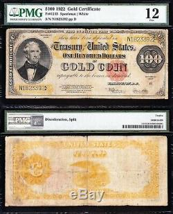 Nice RARE Fine BENTON 1922 $100 GOLD CERTIFICATE! PMG 12! FREE SHIP! 23392