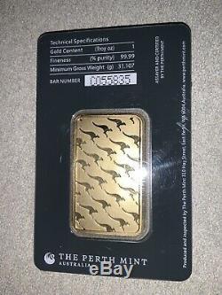 Perth Mint Australia 1 Oz Gold Bar Sealed Assay Certificate. 9999 Fine 24 Karat