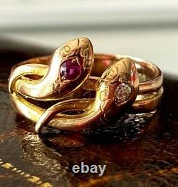 Rare 18k antique snake Ring Diamond Ruby Gold with certificate