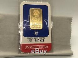 Rare 1 oz Engelhard Gold Bar 999.9 Fine Gold With matching Assay Certificate
