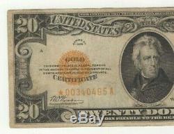 Rare Scarce Nice Star 1928 $20 Gold Certificate Small Very Fine No Probs Nr