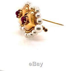 Rene Boivin 18K Yellow Gold Ruby Pearl Brooch Certificate