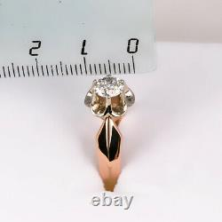 Ring gold Russian diamond big natural certificate Solid Rose gold 14K 583 USSR