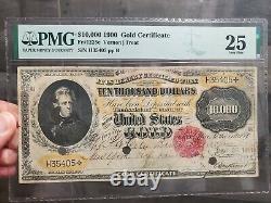 Scarcer Vernon/treat 1900 $10,000 Gold Certificate Pmg Very Fine 25 Fr1225c