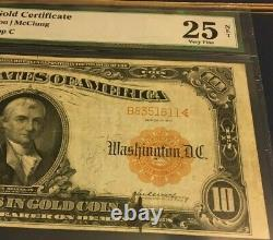 Series 1907 Large $10 Gold Certificate PMG25 Very Fine NET Vernon/McClung 3622