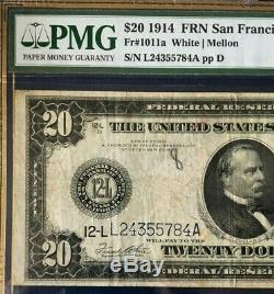 Series 1914 $20 Pmg25 Very Fine Federal Reserve Note San Francisco White/mellon